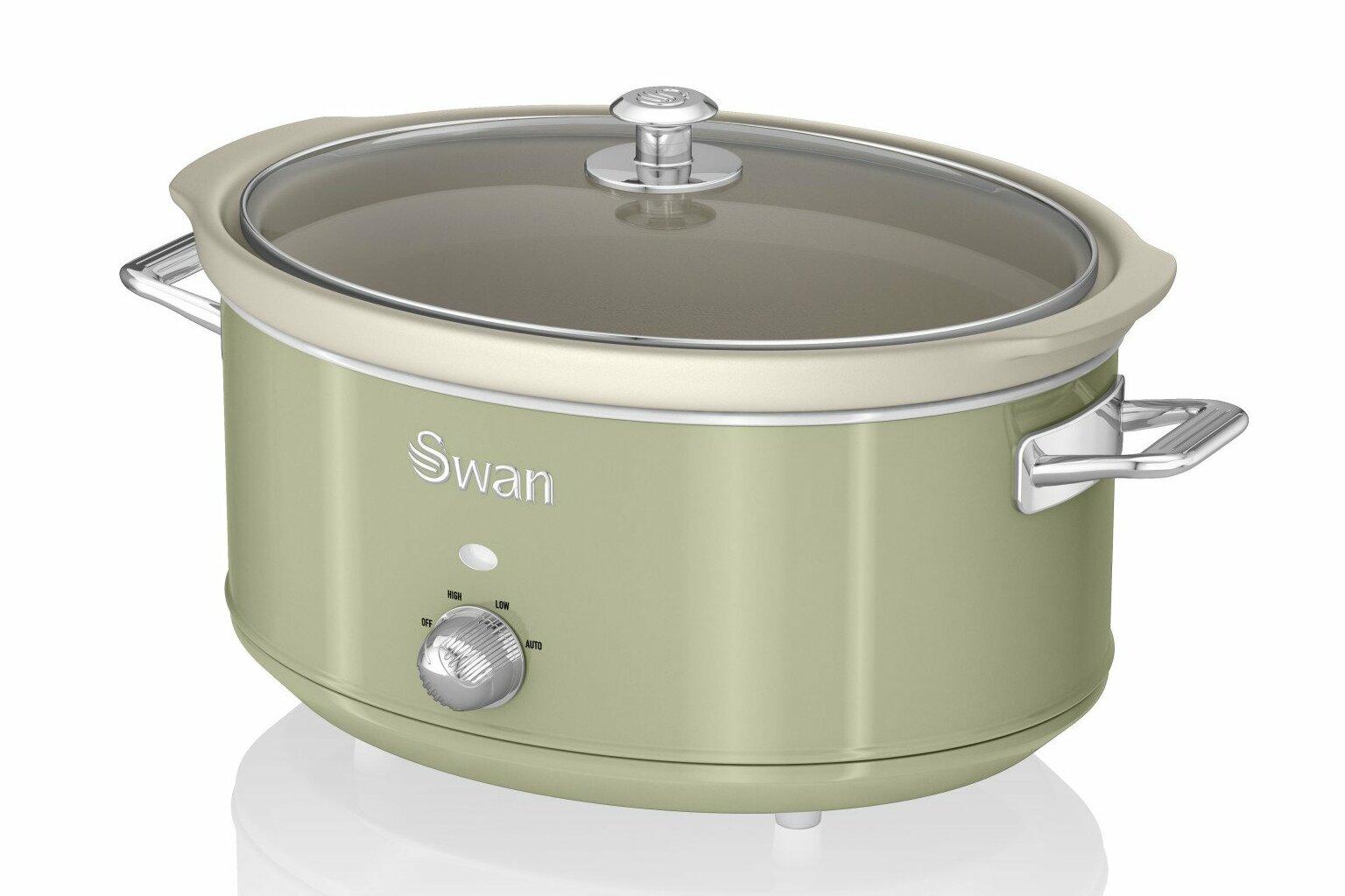 Swan Retro Blue 6.5L Slow Cooker Removable Ceramic Pot SF17031BLN