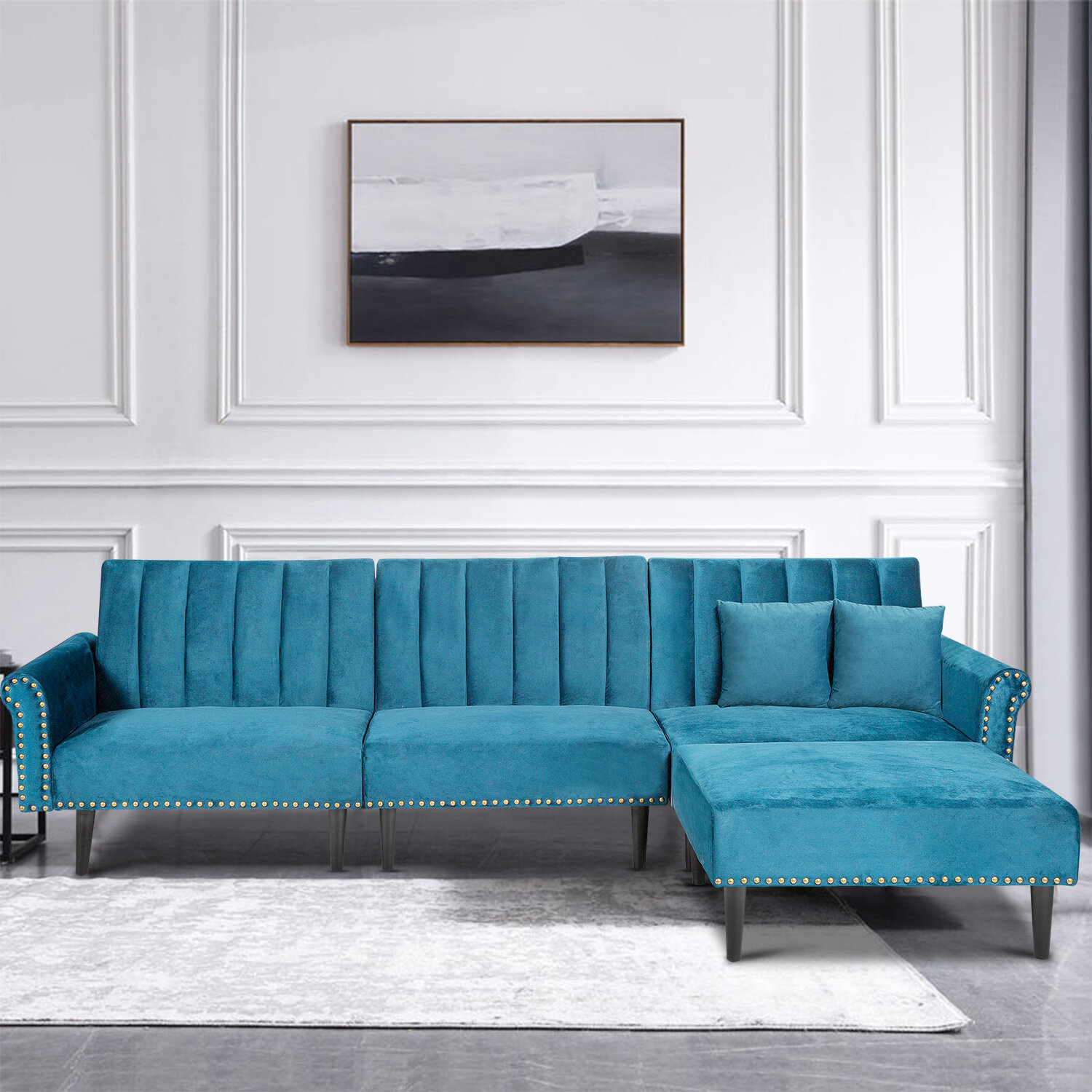 Mercer41 3 Person Sofa Sectional Sofa Couch For Living Room L Shape Sofa Couch Convertible Sofas Sectional Modern Stripe Velvet Futon Sofa Sleeper With 2 Pillows For Apartment For Living Room Office Blue