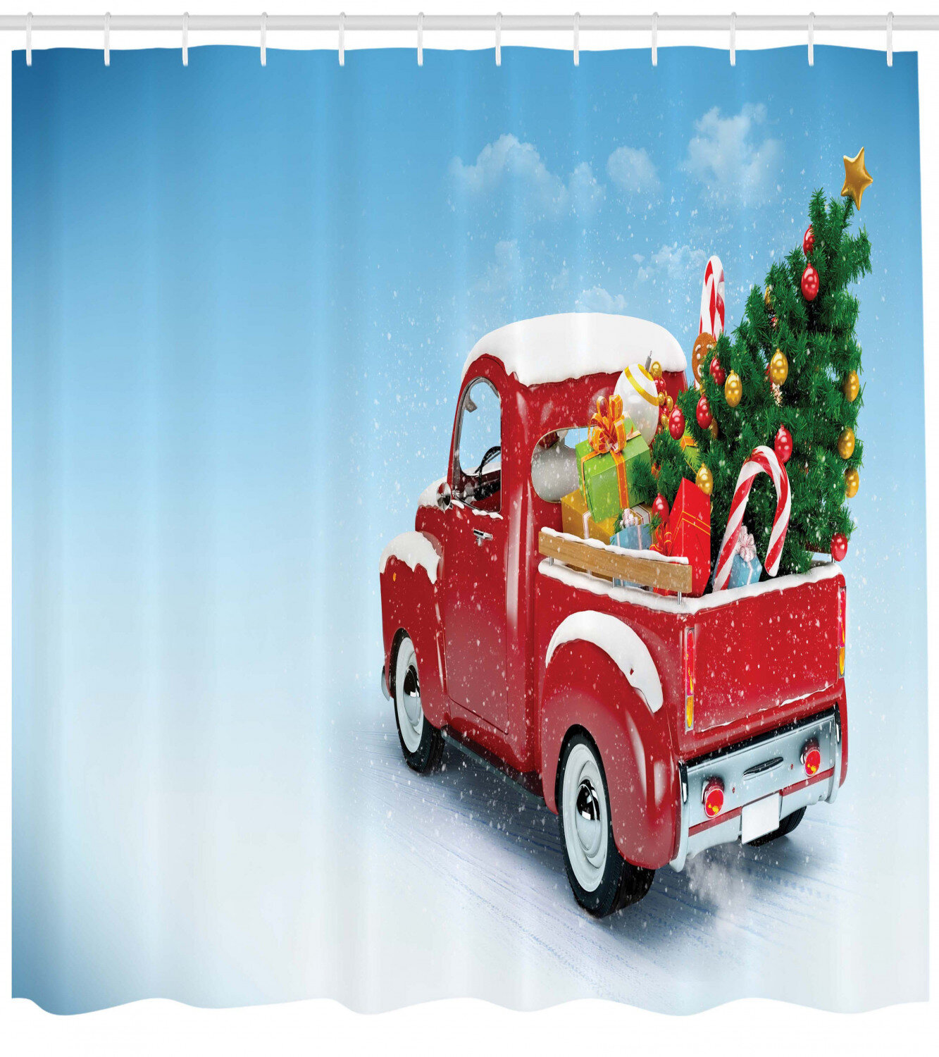 Christmas Red Truck.Christmas Red Truck Xmas Tree Single Shower Curtain
