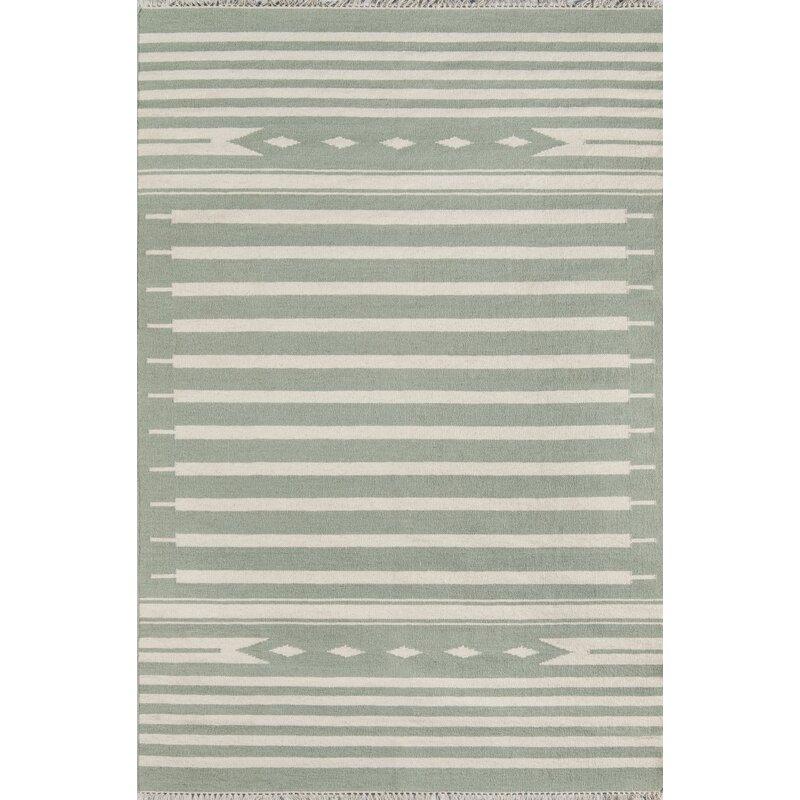 Union Rustic Grovetown Billings Handmade Flatweave Wool Light Green Beige Rug Reviews Wayfair Ca