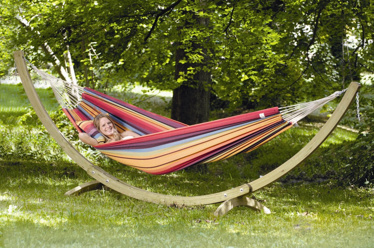 on a bar arc stand spreader and cotton daze hammock wood fabric combo hammocks lazy