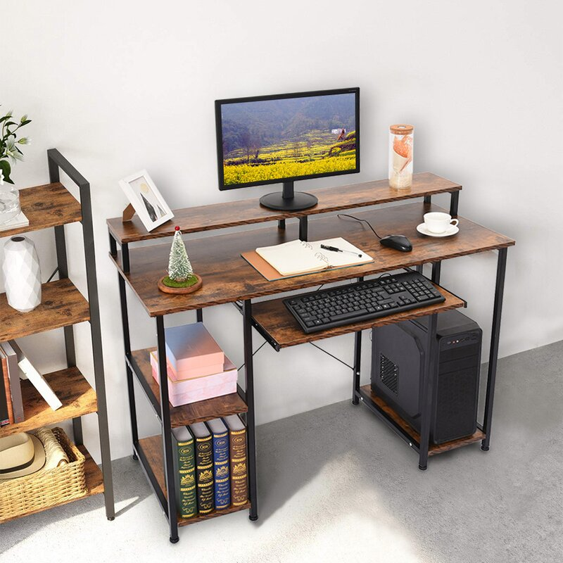 Inbox Zero Modern Computer Desk With Storage Shelves Home Learning Desk Workstation Black