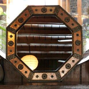Novica Khalid Ali Octagonal Copper Nickel Handmade Wall Mirror
