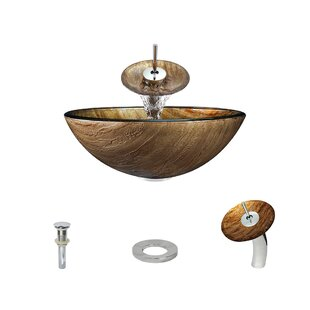 MR Direct Foil Underlay Glass Circular Vessel Bathroom Sink with Faucet