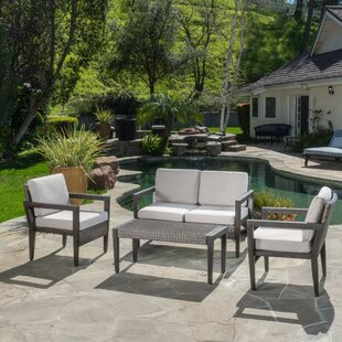 Bracondale 4 Piece Rattan Sofa Set With Cushions by Mercury Row No Copoun