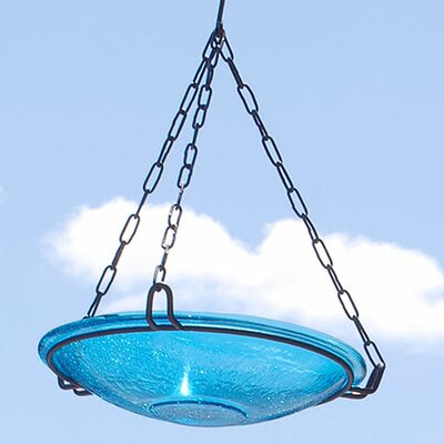 Crackle Wrought Iron Hanging Birdbath ACHLA Color: Teal