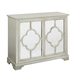 Palumbo Leaf Quatrefoil Pattern 2 Mirrored Door Accent Cabinet By One Allium Way
