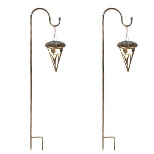Winsome House Flower Solar 1-Light Pathway Light (Set of 2)