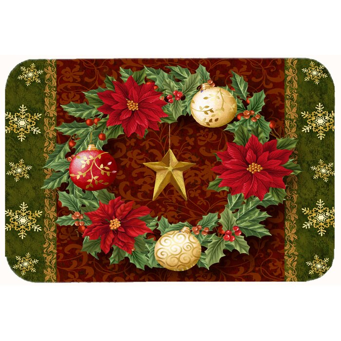 Holly Wreath with Christmas Ornaments Kitchen/Bath Mat
