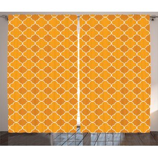 Bier Qua trefoil Graphic Print and Text Semi-Sheer Rod Pocket Curtain Panels (Set of 2) by Latitude Run