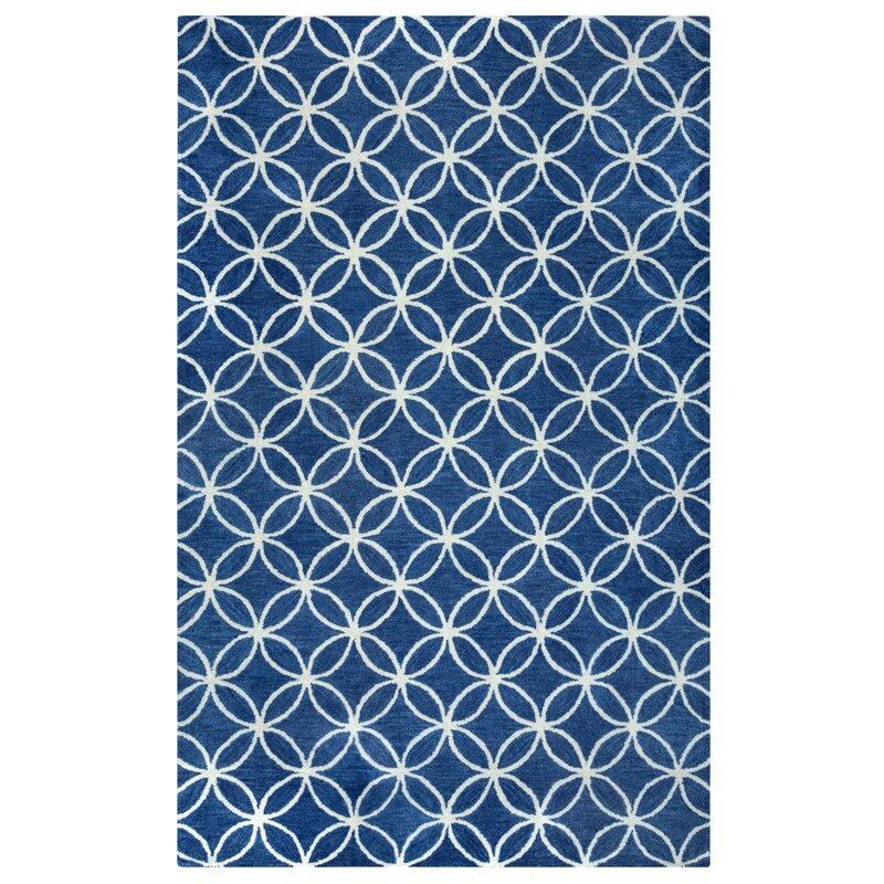 Kenzie Navy Parchment Hand Woven Wool Area Rug