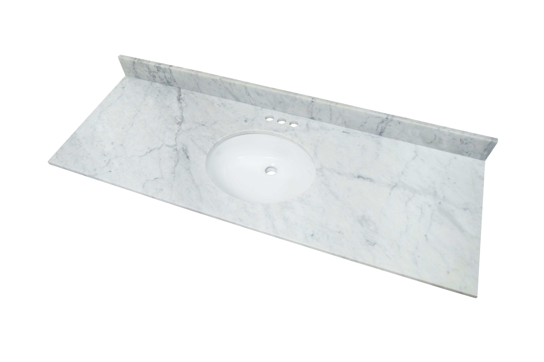 3s Stone 61 Single Bathroom Vanity Top In White With Sink Wayfair