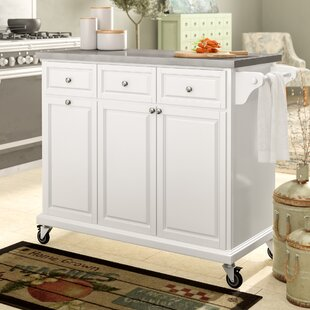 Philippe Kitchen Cart with Stainless Steel Top August Grove