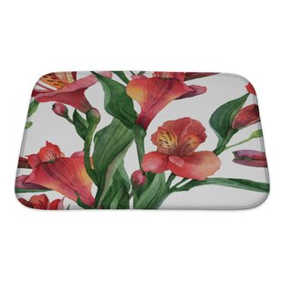 Flowers Floral Pattern Watercolor Alstroemeria Bath Rug By Gear New