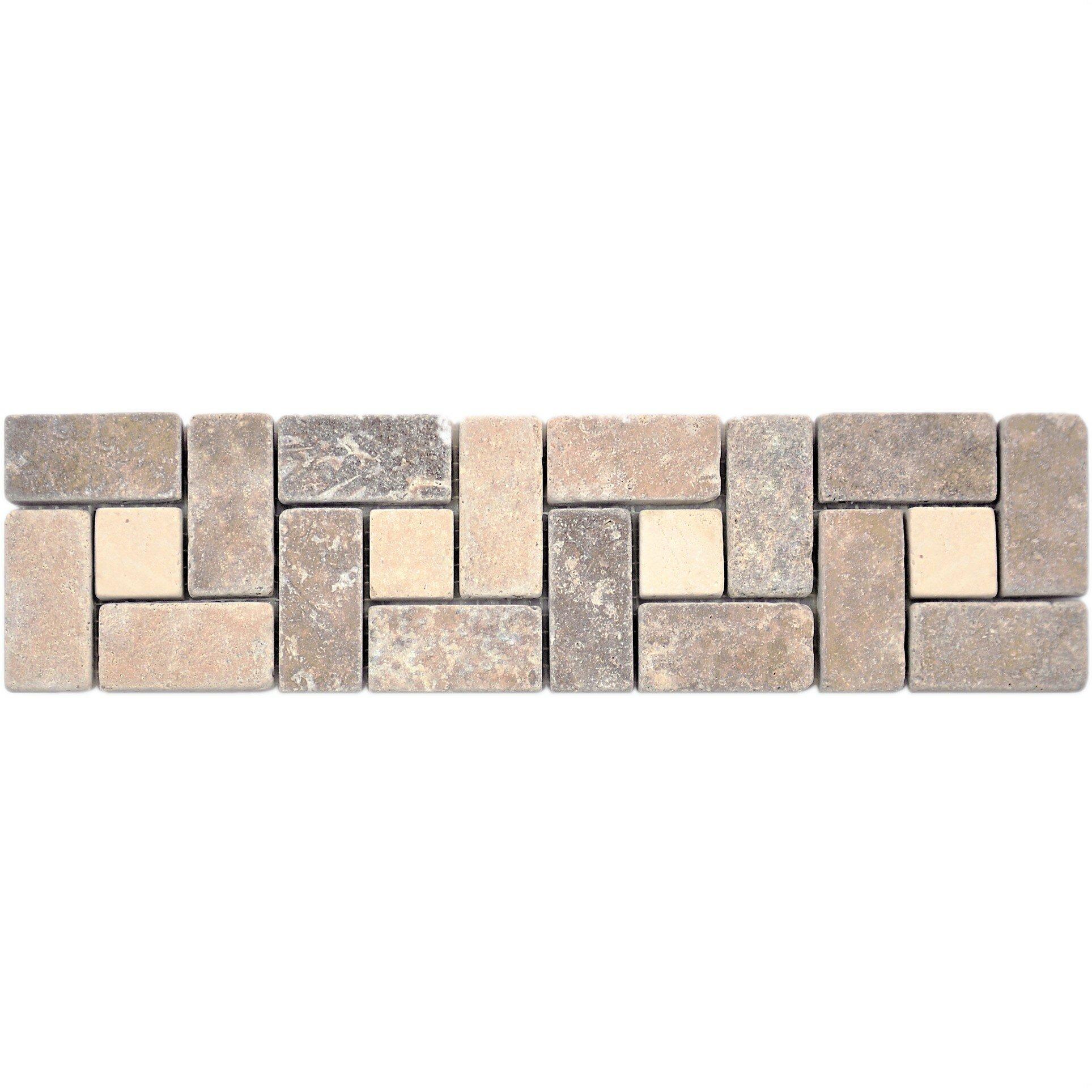 Travertine Noce Border Tile In Tumbled