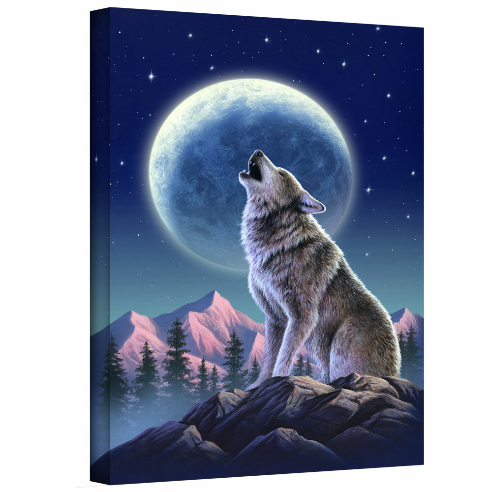 ArtWall \'Wolf Moon\' by Jerry Lofaro Graphic Art on Wrapped Canvas ...