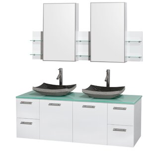Amare 60 Double White Bathroom Vanity Set with Medicine Cabinet