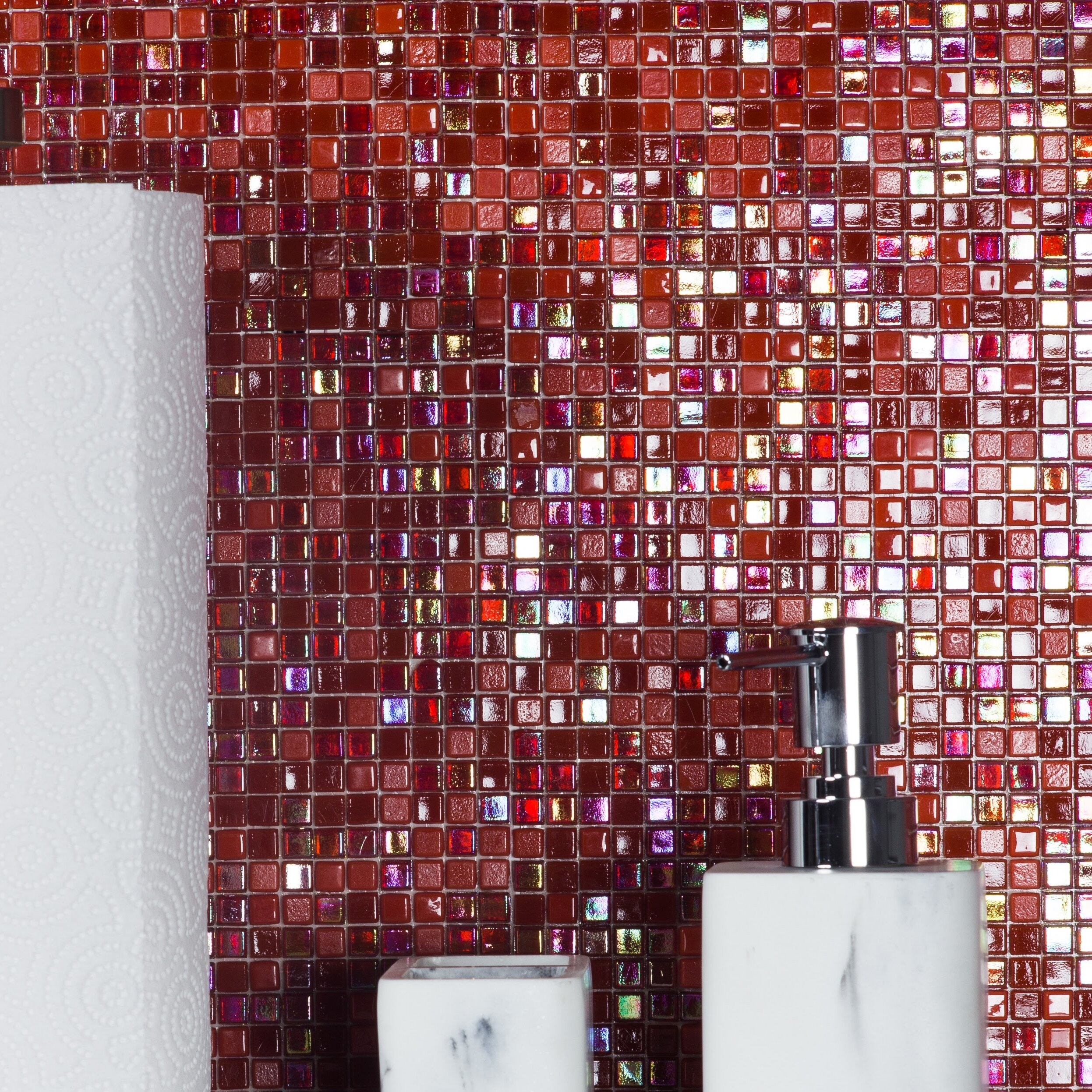 Abolos Galaxy Straight 0 31 X Gl Mosaic Tile In Red Reviews Wayfair