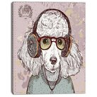 Design Art 'Funny Hipster Poodle with Glasses' Graphic Art on Wrapped Canvas