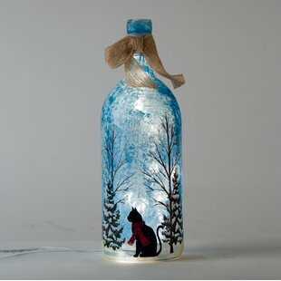 Glitzhome Cat with Scarf Lighted Frosted Glass Bottle Lamp