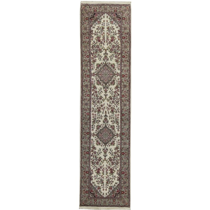 Wool Ivory Green Red Area Rug