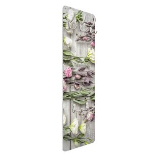 Shabby Roses On Wood Wall Mounted Coat Rack By Symple Stuff