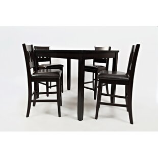 Jarrett 5 Piece Counter Height Solid Wood Dining Set Millwood Pines
