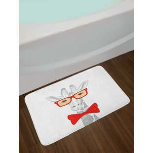 Cute Animal with Bow Tie Glasses Dotted Pattern Hipster Cartoon Image Bath Rug