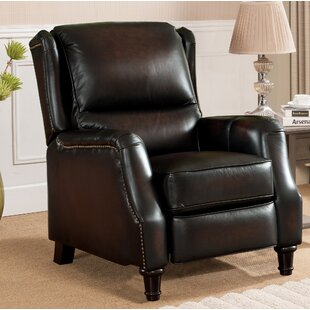 Aguiar Wingback Leather Manual Recliner Darby Home Co