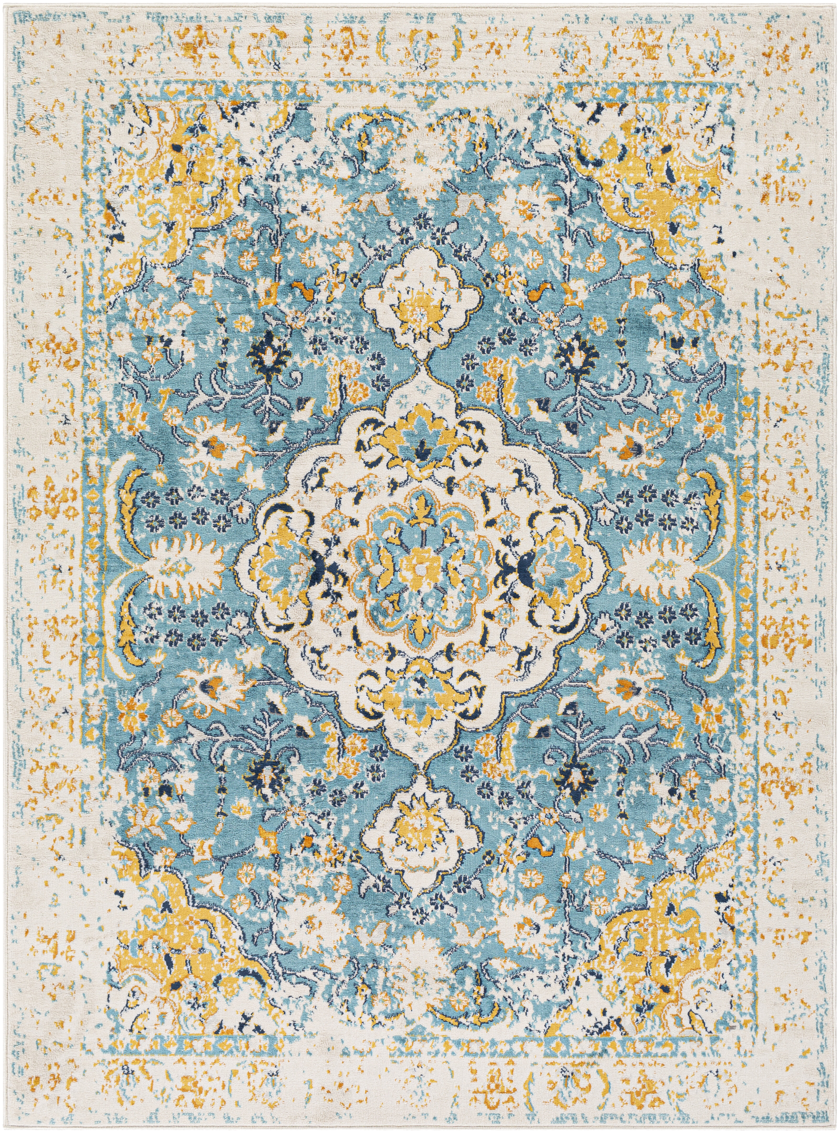 Picture of: Bungalow Rose Leaver Oriental Light Blue Yellow Area Rug Reviews Wayfair