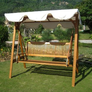 Sabbattus 3-Seater Balau Swing with Frame and Canopy by Breakwater Bay