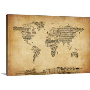 Sheet music world map wayfair map of the world map from old sheet music by michael tompsett graphic art print gumiabroncs Choice Image