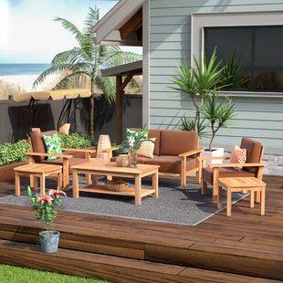 Beachcrest Home Elsmere 6 Piece Teak Sunbrella Sofa Set with Cushions