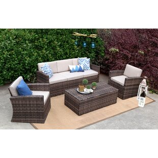 Squires 4 Piece Rattan Sofa Seating Group with Cushions by Rosecliff Heights