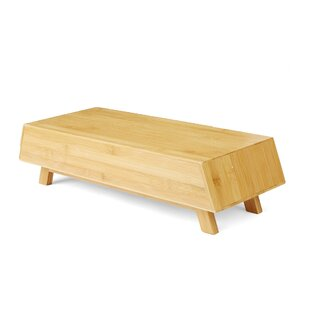 Mind Reader Eco-Friendly Bamboo Monitor Stand with Drawer