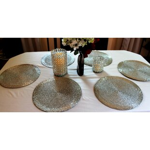 Artisan Glass Bead Braided Round Placemat (Set of 6)