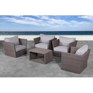 Cody 5 Piece Rattan Sofa Seating Group with Cushions