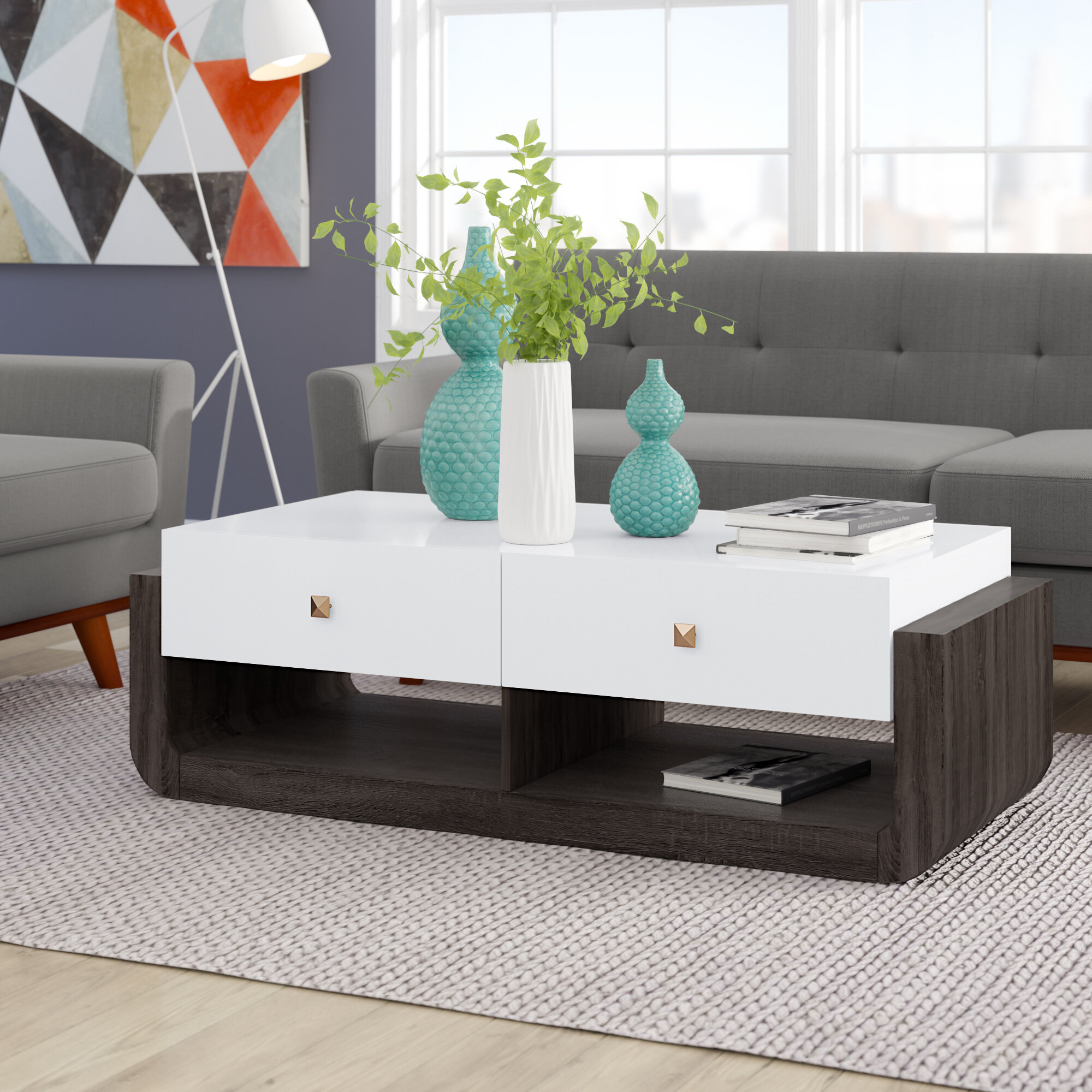 Ivy Bronx Jena Modern Coffee Table In Glossy White And Distressed Grey Reviews Wayfair Ca