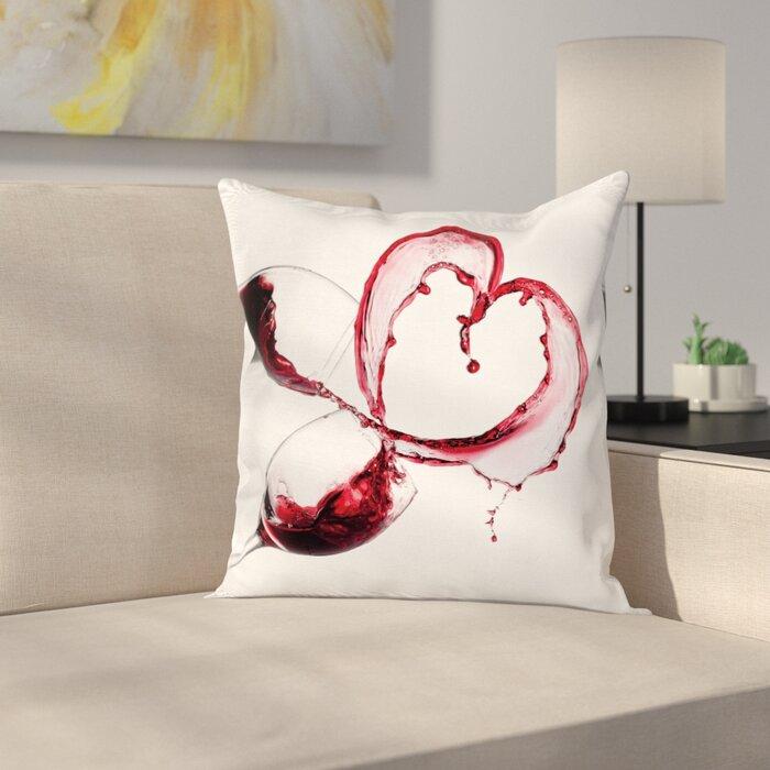 Outstanding Wine Heart Shape Spilling Wine Square Pillow Cover Inzonedesignstudio Interior Chair Design Inzonedesignstudiocom
