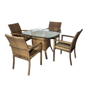 Hardage 5 Piece Dining Set with Cushions ByHighland Dunes