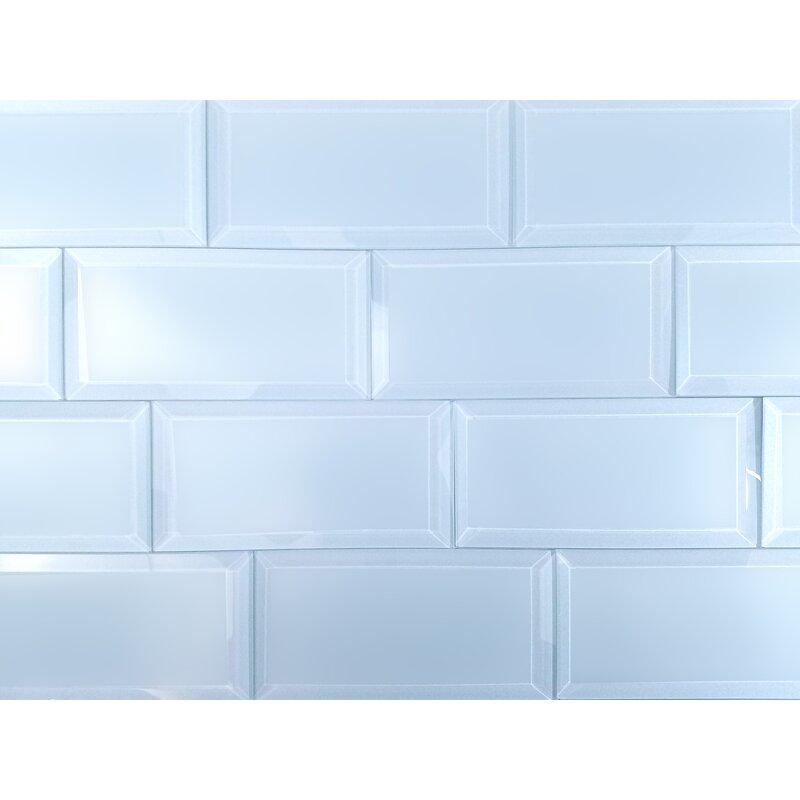 Abolos Frosted Elegance Matte Blue 3 x 6 Beveled Glass Subway Backsplash Tile