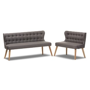 Mid-Century Modern Natural Wood Finishing Grey Fabric 2-Piece Settee Set by George Oliver