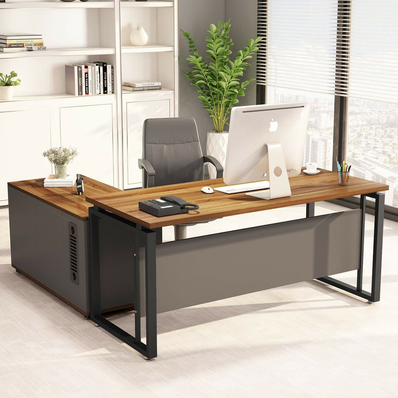 Williston Forge Plumlee L Shaped Computer Desk With File Cabinet Storage Wayfair