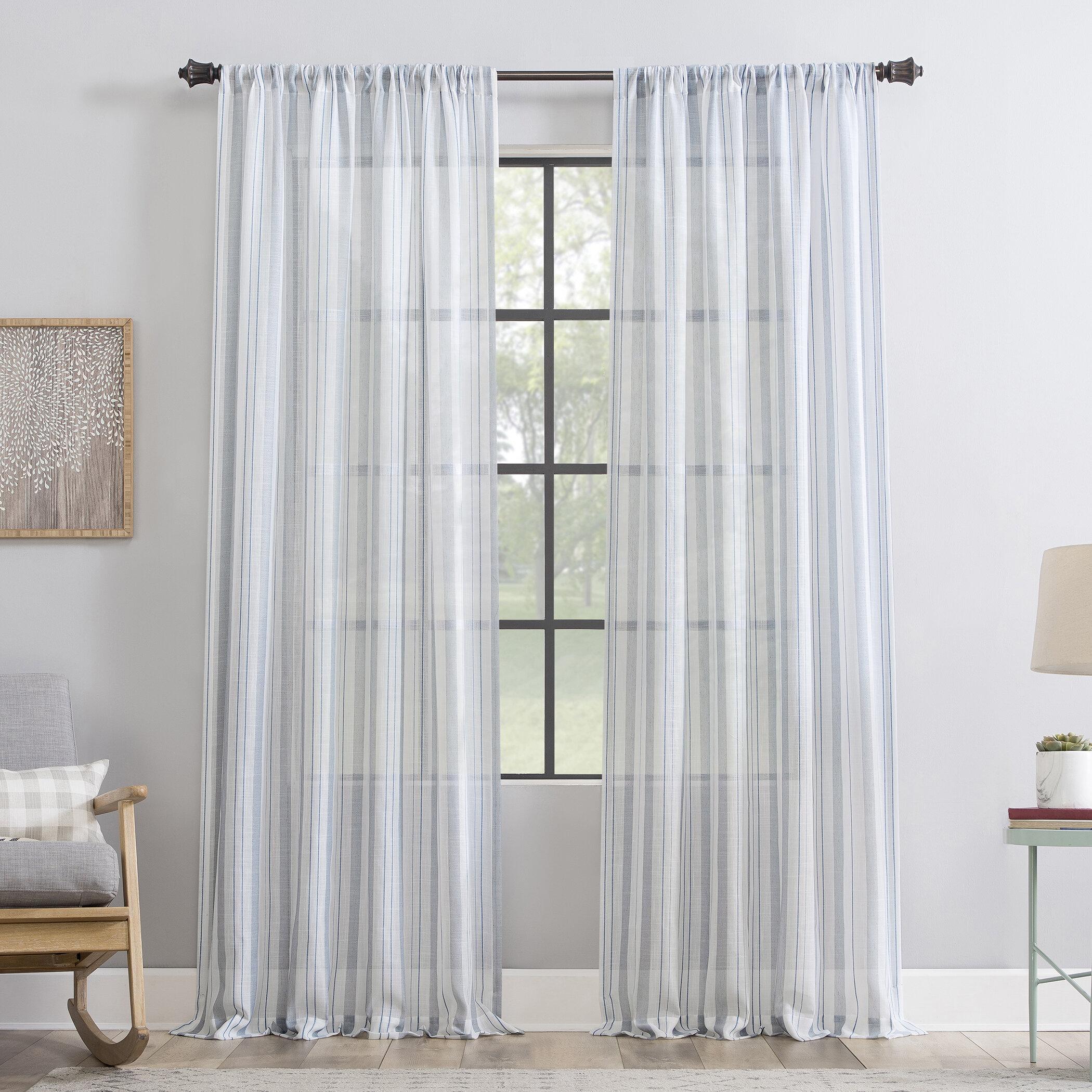Cleanwindow Striped Sheer Rod Pocket Single Curtain Panel Reviews Wayfair