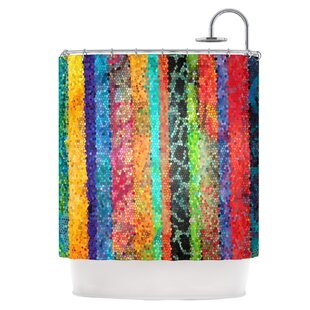 Stained Glass Batik Mosaic Stripe Single Shower Curtain
