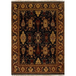 Bargain One-of-a-Kind Dockery Hand-Knotted 8' x 11'2 Wool Beige/Black Area Rug By Isabelline