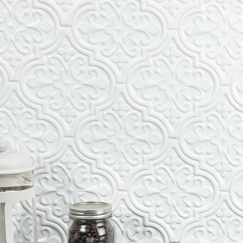 "Vintage Florid Lantern 8"" x 8"" Ceramic Field Tile"