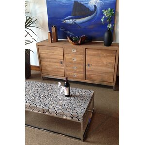 Teak Coffee Table with Stainless Base by Chi..