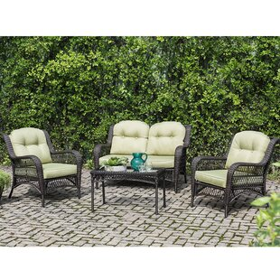 Elyssa 4 Piece Rattan Sofa Set with Cushions by August Grove
