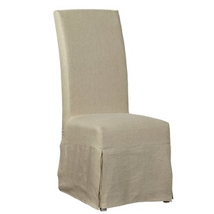Linen Floor Length Slip Covered Upholstered Dining Chair (Set of 2)